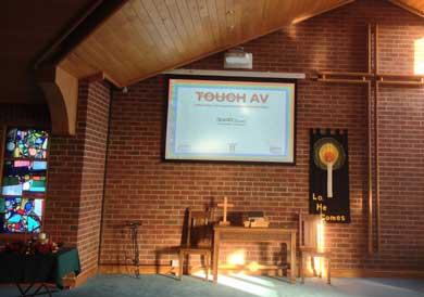 Church projector screen installation